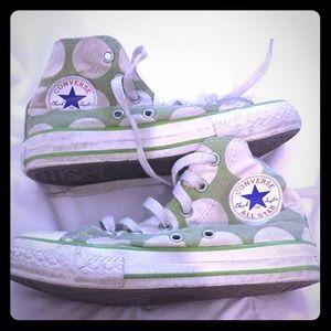 Converse 13 hi tops polka dots green white